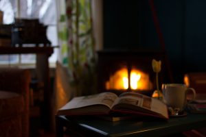 Image of books in front of a cozy fireplace.