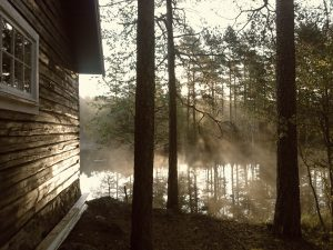 Misty morning lake and cabin