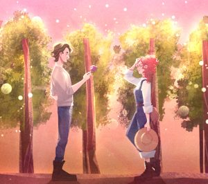 Artistic drawing of a young man and young woman facing each other in a vineyard. The man is handing the woman a flower.